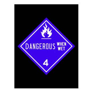 gefährlich, wenn naß postkarte