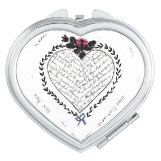 Geformter kompakter Spiegel des Herzens Taschenspiegel