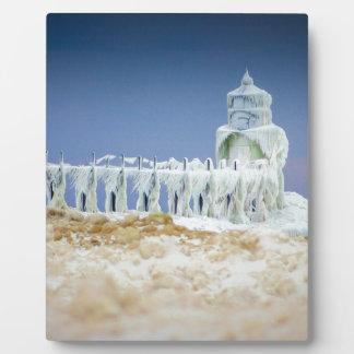 Gefrorener Leuchtturm Fotoplatte