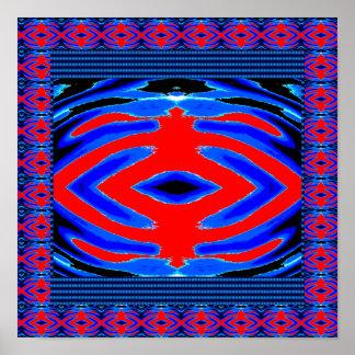 Geheimcode-Diamant; Rote n-Blau-Symbole Poster