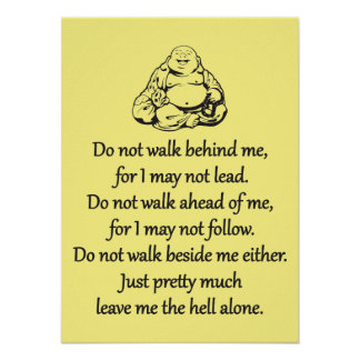 Gehen nicht hinter mich - sarkastische Zen-Phrase Poster