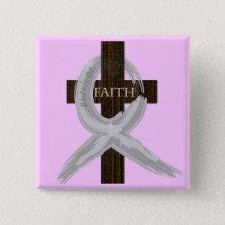 Gehirn u. Lungenkrebs-Glauben-Kreuz-Graues Band Quadratischer Button 5,1 Cm