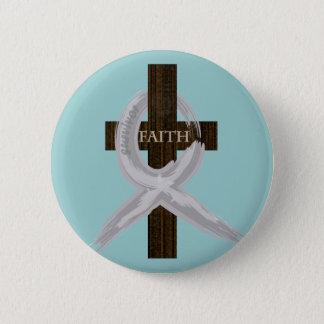 Gehirn u. Lungenkrebs-Glauben-Kreuz-Graues Band Runder Button 5,1 Cm