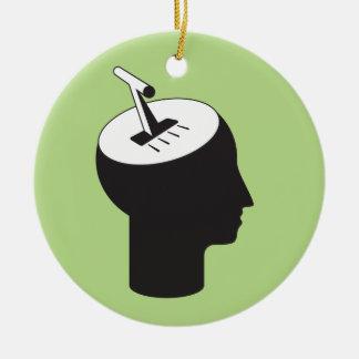 Gehirnmodus - denkender Schiebehebel Keramik Ornament