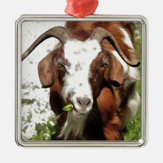 Gehörnte weiden lassende Ziege Quadratisches Silberfarbenes Ornament