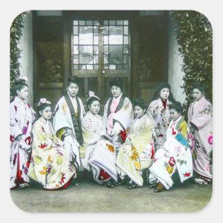 Geisha, der durch Bordell-Vintagen Objektträger Quadratischer Aufkleber