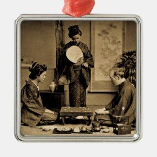 Geisha, der Meister am Spiel von Go 囲碁 Vintag Silbernes Ornament