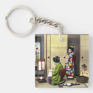 Geisha und ihr Meiko in altem Japan Vintag Schlüsselanhänger