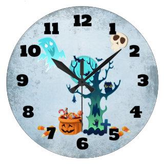 Geist-Schläger-Schädel u. Süßigkeit Halloweens Große Wanduhr