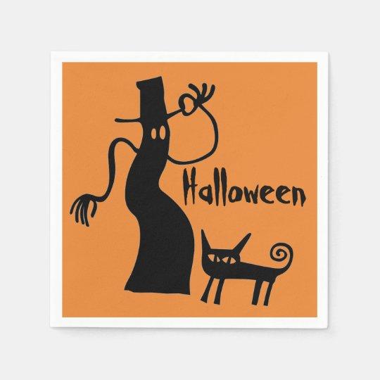 Geist und schwarze Katze Papierservietten