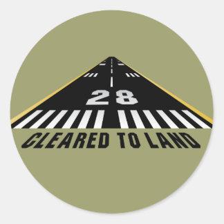 Geklärt, um Rollbahn zu landen Runde Sticker
