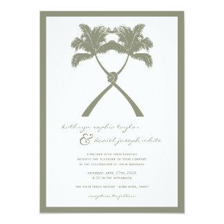 Geknotete Palme-tropische Strand-Hochzeit laden 12,7 X 17,8 Cm Einladungskarte