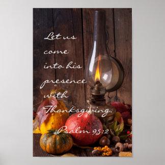 Gekommen in seine Anwesenheit mit Erntedank, Psalm Poster