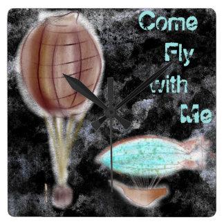 Gekommene Fliege mit mir Quadratische Wanduhr
