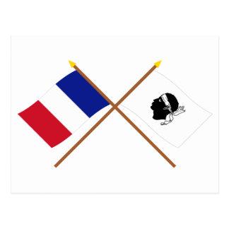 Gekreuzte Flaggen von Frankreich und von La Corse Postkarte