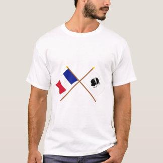 Gekreuzte Flaggen von Frankreich und von La Corse T-Shirt