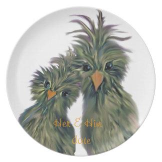 Gekritzel DODO Liebe-Vögel Teller