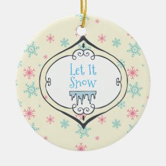Gelassen ihm schneien frohe rundes keramik ornament