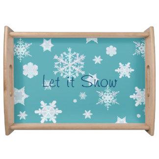 Gelassen ihm schneien Serviertablett