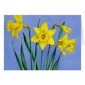 Gelb gemalte Narzissenkunstkarte Mitteilungskarte