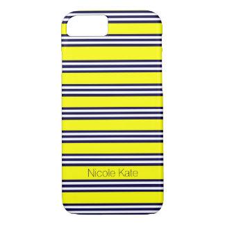 Gelb mit blauem Streifen iPhone 7 Hülle