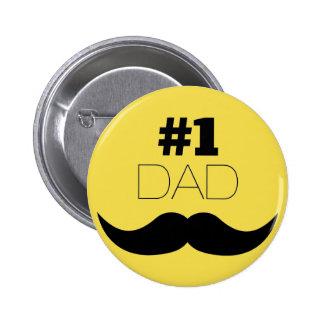 Gelb-Schnurrbart des Vati-#1 - Nr. eine Runder Button 5,7 Cm