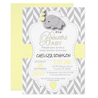 Gelb, weiße graue Elefant-Babyparty Karte