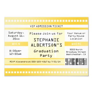 Gelbe Abschluss-oder Party-Aufnahme-Karte 8,9 X 12,7 Cm Einladungskarte