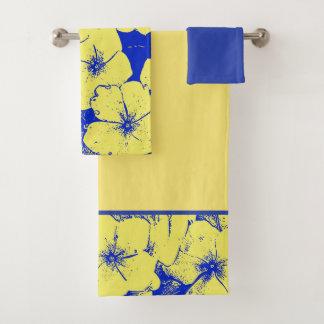 Gelbe blaue tropische Blumen Badhandtuch Set