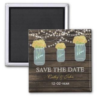 gelbe Blumen in einem Maurerglas Save the Date Magnete