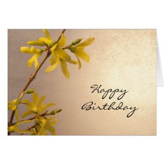 Gelbe Frühlingforsythia-alles- Gute zum Grußkarte