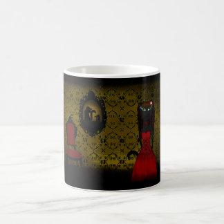 Gelbe gotische Katzen-Mädchen-Tasse Verwandlungstasse