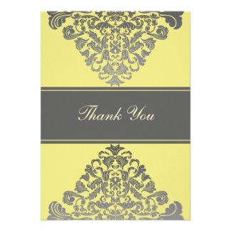 """gelbe graue"" wedding danke Karten Einladungskarte"