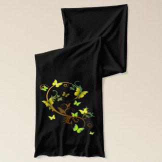 Gelbe/grüne Schmetterlinge und Reben Schal