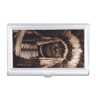 Gelbe hauptsächlicheuleVintager Blackfoot Edward Visitenkarten Etui