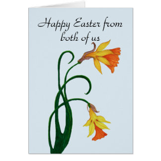 Gelbe Osterlilien-Narzisse, fröhliche Ostern Karte
