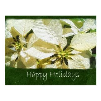 Gelbe Poinsettias 2 - frohe Feiertage Postkarte