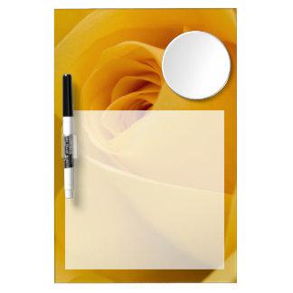 Gelbe Rosen-Blume Trockenlöschtafel Mit Spiegel