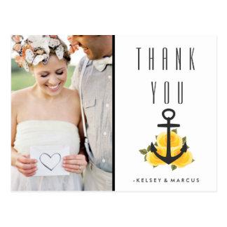 Gelbe Rosen-nautischhochzeit danken Ihnen Postkarte
