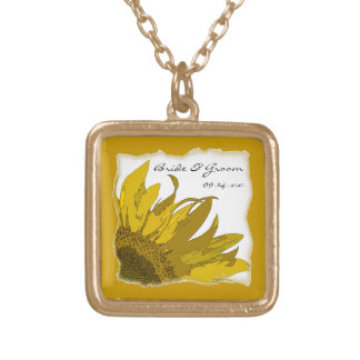 Gelbe Sonnenblume-Ecken-Hochzeit Halskette Mit Quadratischem Anhänger