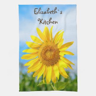 Gelbe Sonnenblume-personalisierter Name Küchenhandtücher