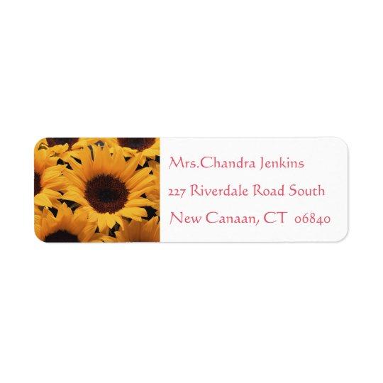 Gelbe Sonnenblume-Rosa-Blume Rücksendeetiketten
