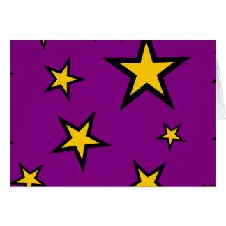 Gelbe Sterne auf Lila Mitteilungskarte