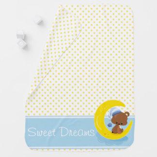 Gelbe Sterne mit Teddy-Bären | personalisiert Babydecken