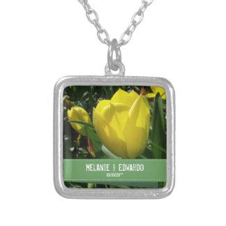 Gelbe Tulpe-Hochzeits-Halskette für Braut Versilberte Kette