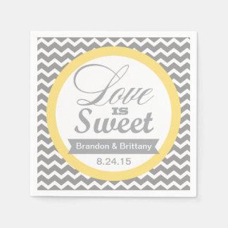 Gelbe und graue Zickzack Hochzeits-Servietten Papierservietten