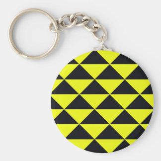 Gelbe und schwarze Dreiecke Standard Runder Schlüsselanhänger