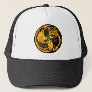 Gelbe und schwarze Yin Yang Skorpione Truckerkappe