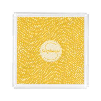 Gelbe und weiße mit Monogramm Schlagkennzeichen Acryl Tablett