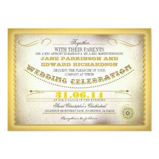 Gelbe Vintage Hochzeitseinladungen - Karten 12,7 X 17,8 Cm Einladungskarte